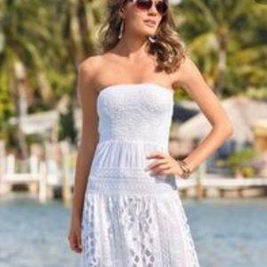 Boston Proper White Eyelet Strapless Maxi Dress